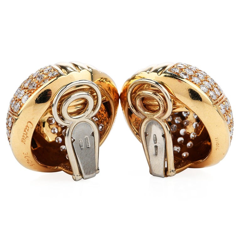 Cartier Vintage 6.10 Carat Diamond 18k Gold Dome Clip On Earrings In Excellent Condition In Miami, FL