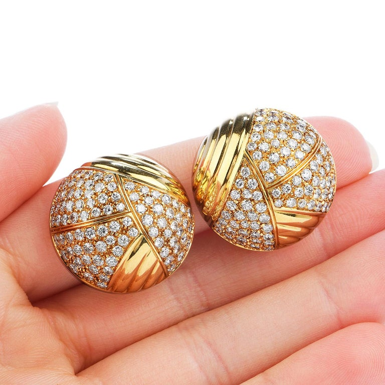 Men's Cartier Vintage 6.10 Carat Diamond 18k Gold Dome Clip On Earrings
