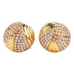 Cartier Vintage 6.10 Carat Diamond 18k Gold Dome Clip On Earrings