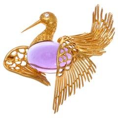 Cartier Vintage Amethyst Diamond 18 Karat Gold Bird Brooch
