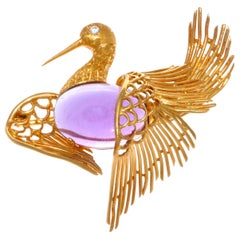 Cartier Vintage Amethyst Diamond 18 Karat Gold Bird Brooch