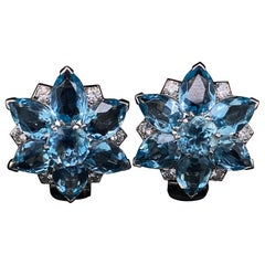 Cartier Vintage Aquamarine and Diamond Floral Earrings