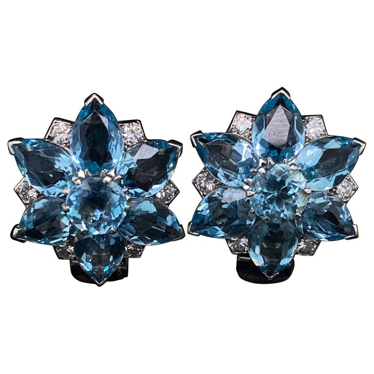 Cartier Vintage Aquamarine and Diamond Floral Earrings For Sale