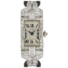 Cartier Vintage Art Deco Cocktail Dress Watch Platinum and Diamond Set Very Rare