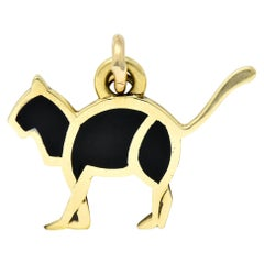Cartier Vintage Black Enamel 14 Karat Yellow Gold Cat Charm
