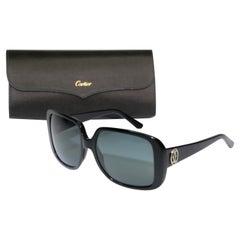 Cartier Vintage Black Sunglasses with Box, 1990 Silver Logo