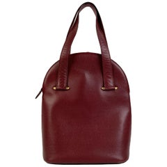 Cartier Vintage Burgundy Leather Tote Handbag Satchel