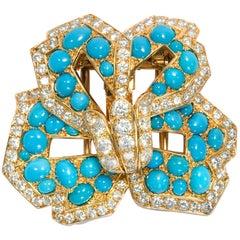 Cartier Vintage circa 1970 Turquoise 3.20 Ct Diamond 18 Karat Gold Flower Brooch