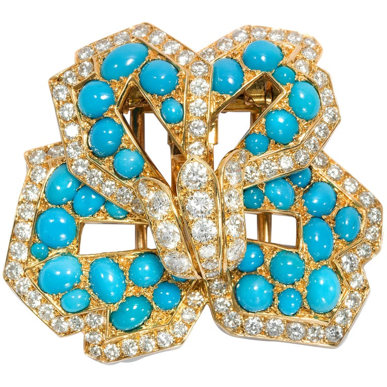 Cartier Vintage circa 1970 Turquoise 3.20 Ct Diamond 18 Karat Gold Flower Brooch For Sale