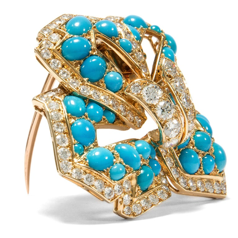 Retro Cartier Vintage circa 1970 Turquoise 3.20 Ct Diamond 18 Karat Gold Flower Brooch For Sale
