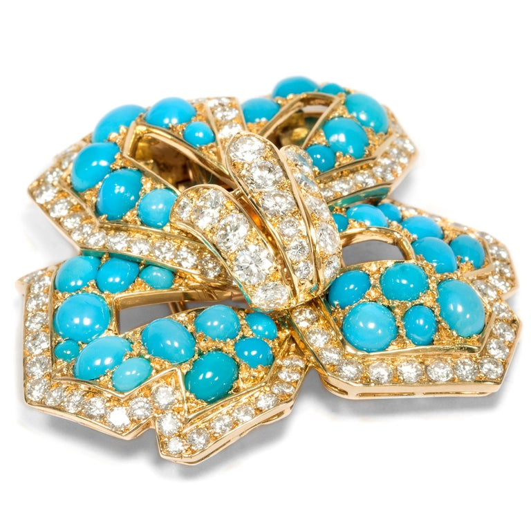Cartier Vintage circa 1970 Turquoise 3.20 Ct Diamond 18 Karat Gold Flower Brooch In Excellent Condition For Sale In Berlin, Berlin