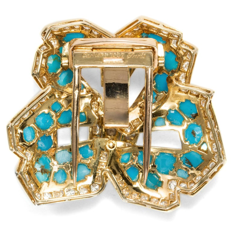 Cartier Vintage circa 1970 Turquoise 3.20 Ct Diamond 18 Karat Gold Flower Brooch For Sale 1