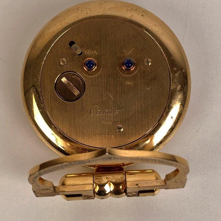 Brown Cartier Vintage Colisee Gold Metal Desk Table Clock Alarm Time Piece