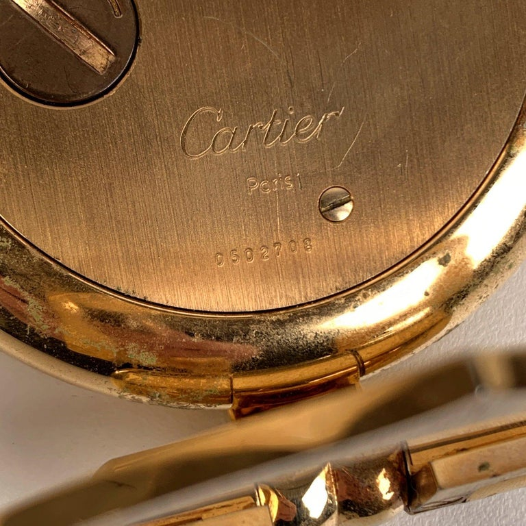 Cartier Vintage Colisee Gold Metal Desk Table Clock Alarm Time Piece In Excellent Condition In Rome, Rome