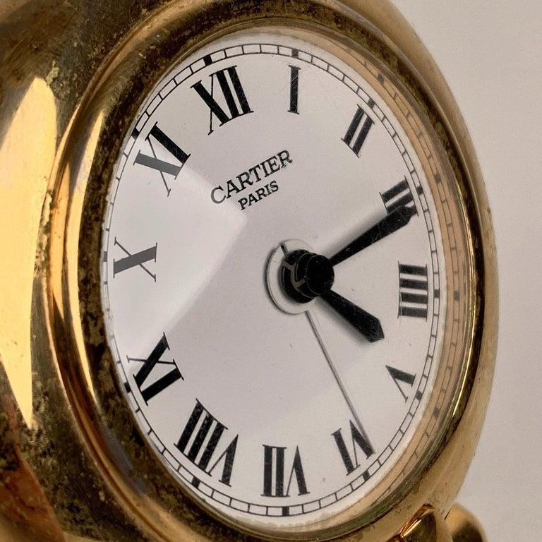 Women's Cartier Vintage Colisee Gold Metal Desk Table Clock Alarm Time Piece