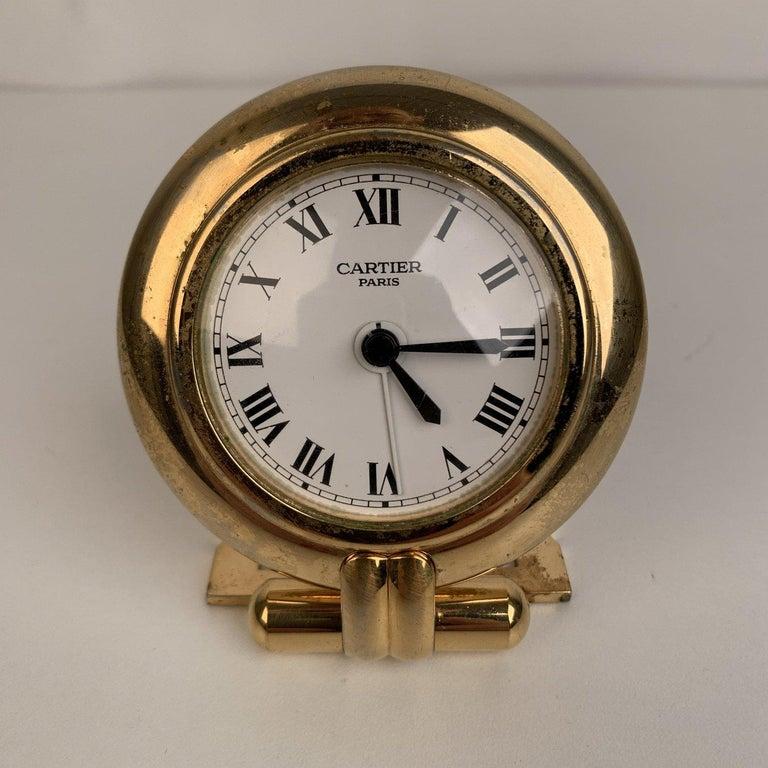 Cartier Vintage Colisee Gold Metal Desk Table Clock Alarm Time Piece 2