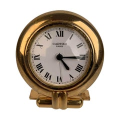 Cartier Vintage Colisee Gold Metal Desk Table Clock Alarm Time Piece