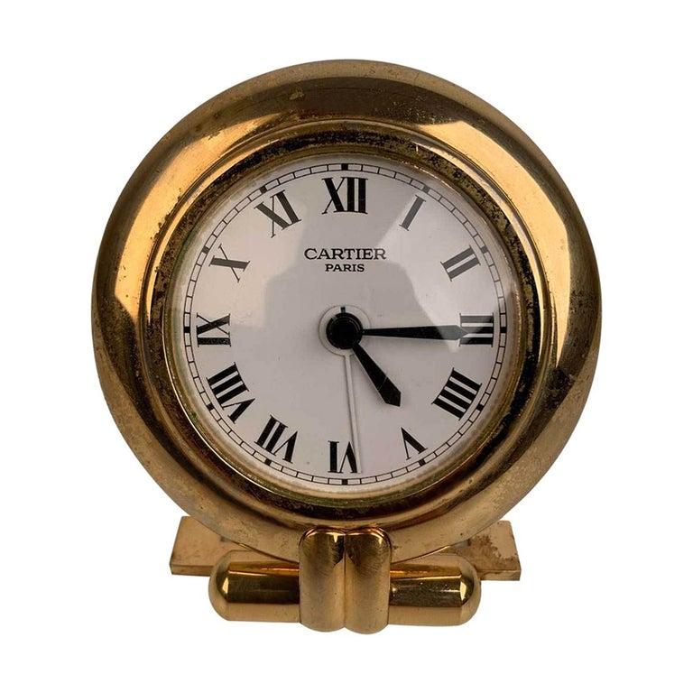 Cartier Vintage Colisee Gold Metal Desk Table Clock Alarm Time Piece