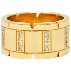 Cartier Vintage Diamond 18 Karat Gold Unisex Tank Francaise Band Ring