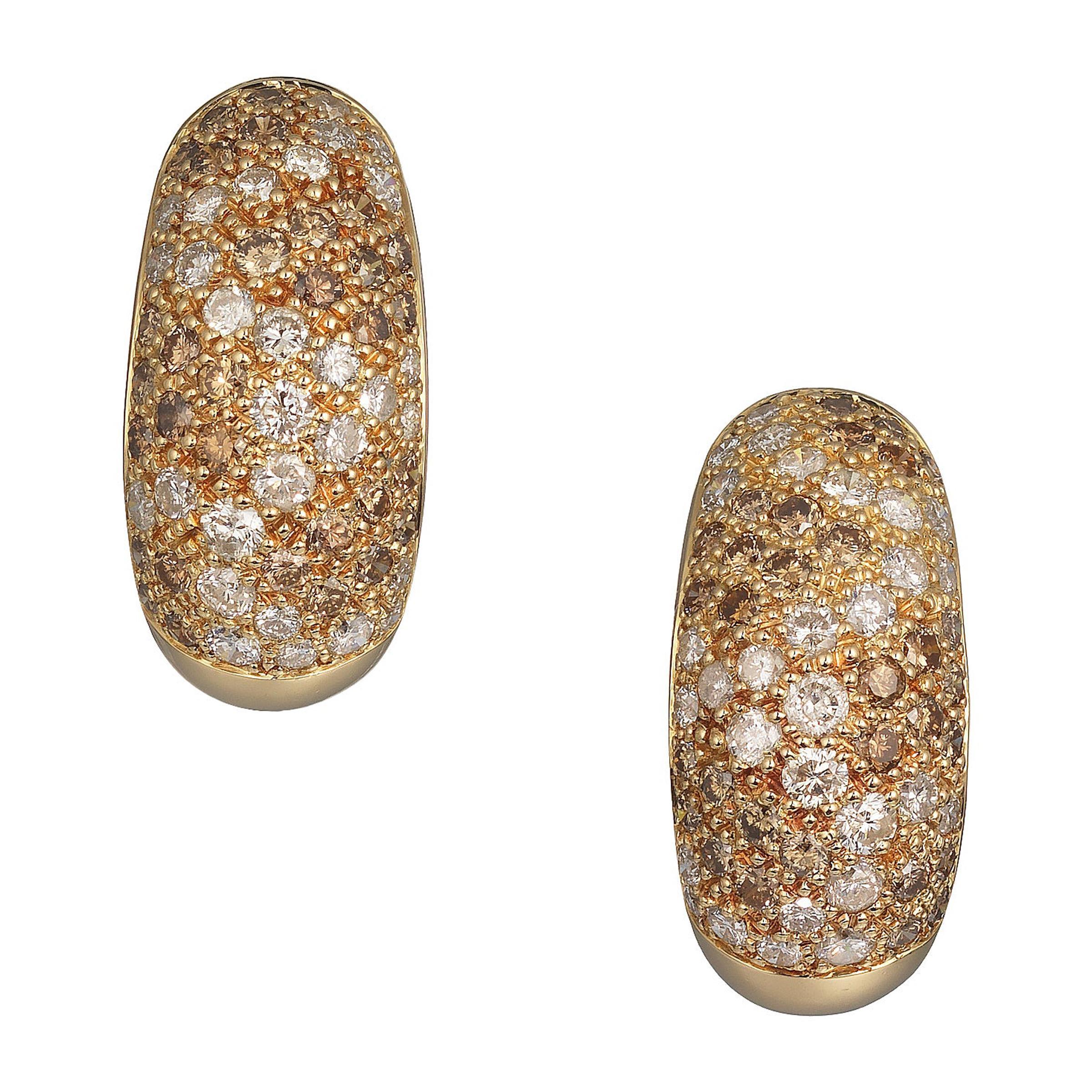 Cartier Vintage Diamond and 18 Karat Gold Bombe Earrings