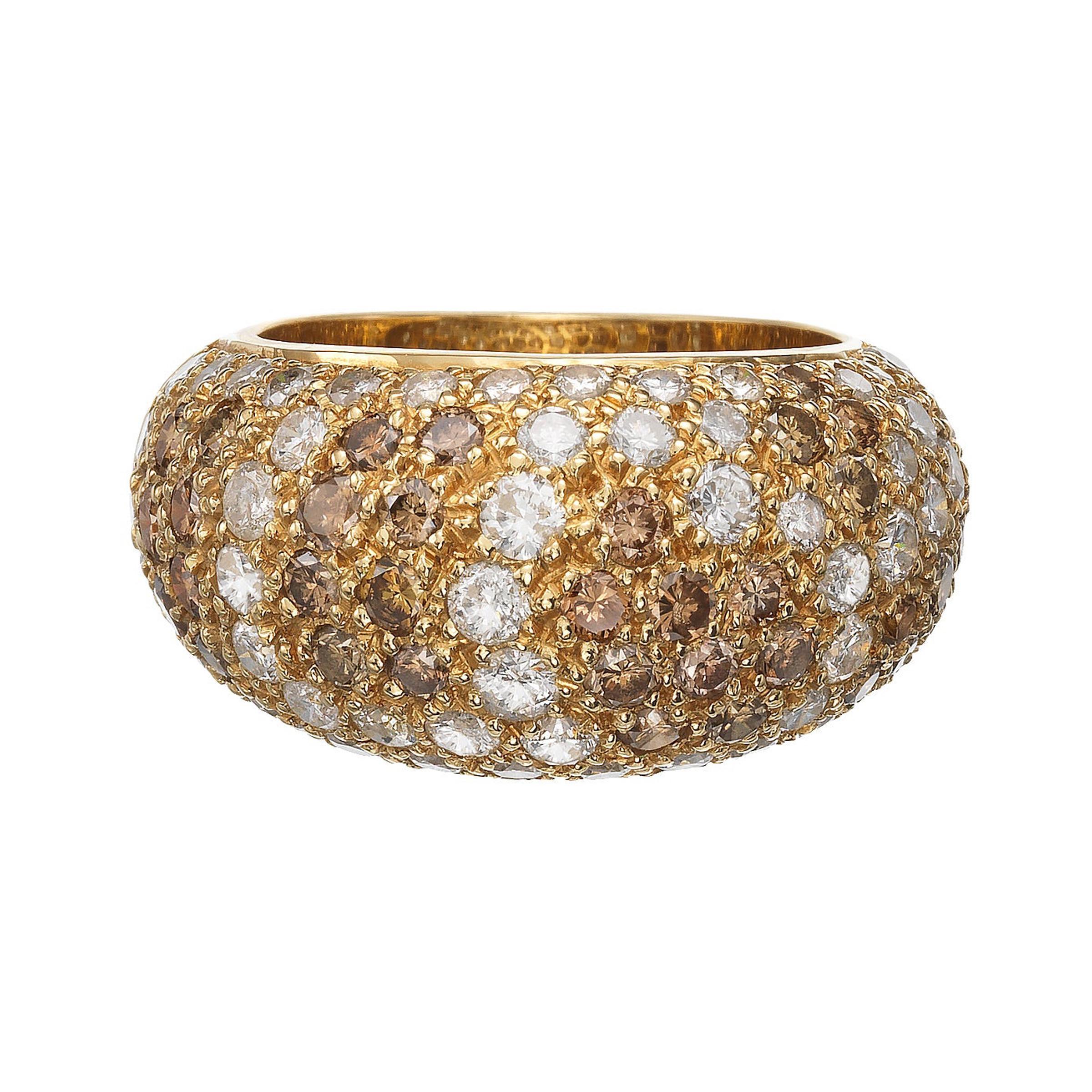 Cartier Vintage Diamond and 18 Karat Gold Bombe Ring