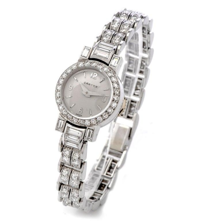 Art Deco Cartier Vintage Diamond Platinum Swiss Collectible Ladies Watch For Sale