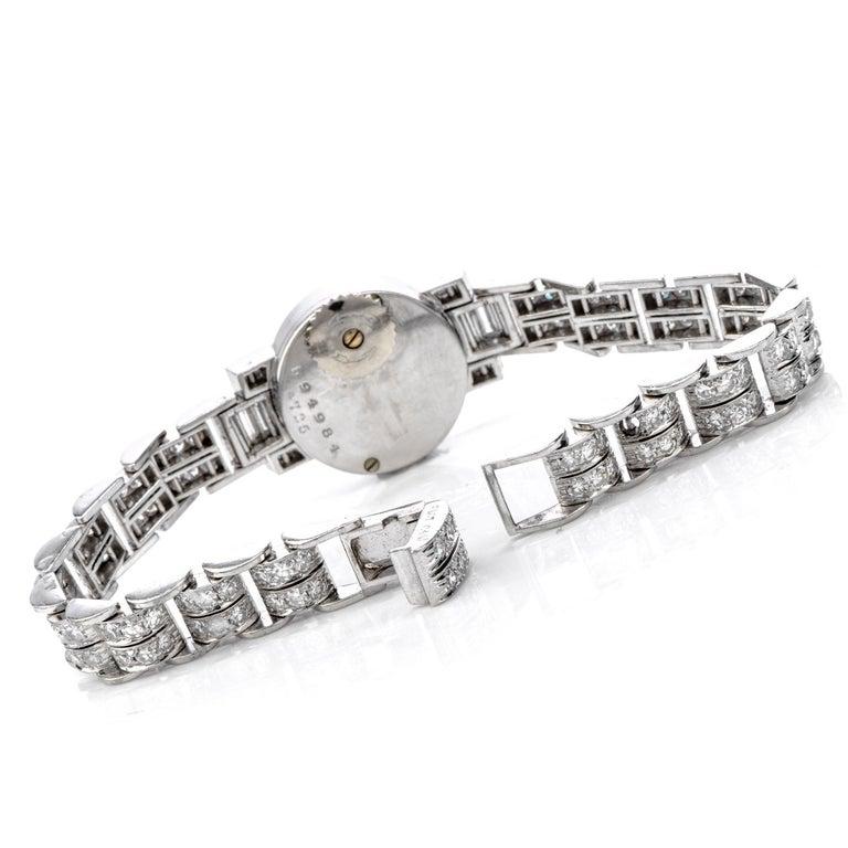 Round Cut Cartier Vintage Diamond Platinum Swiss Collectible Ladies Watch For Sale