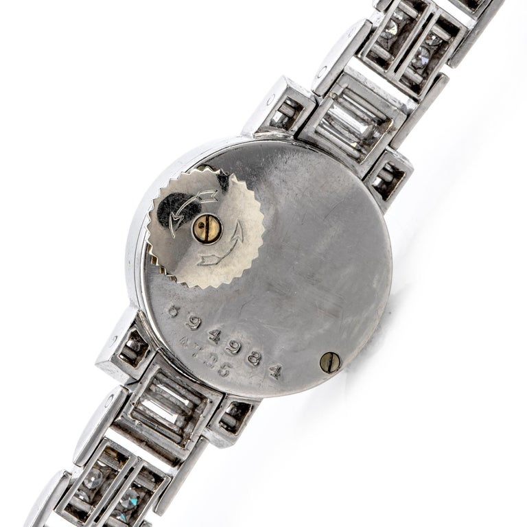 Cartier Vintage Diamond Platinum Swiss Collectible Ladies Watch In Excellent Condition For Sale In Miami, FL