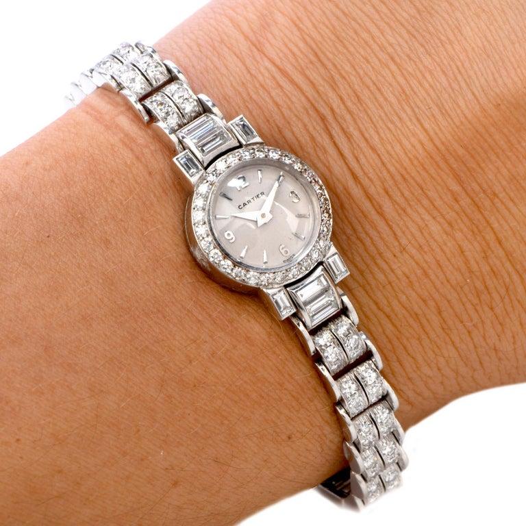 Cartier Vintage Diamond Platinum Swiss Collectible Ladies Watch For Sale 1