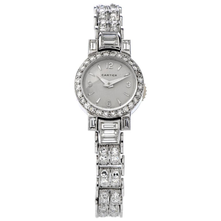 Cartier Vintage Diamond Platinum Swiss Collectible Ladies Watch For Sale