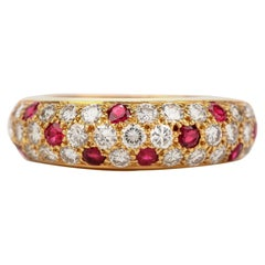 Cartier Vintage Diamond Ruby 18 Karat Gold Pave Dome Bombe Band Ring