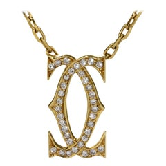 Cartier Vintage Double C Diamond Gold Necklace