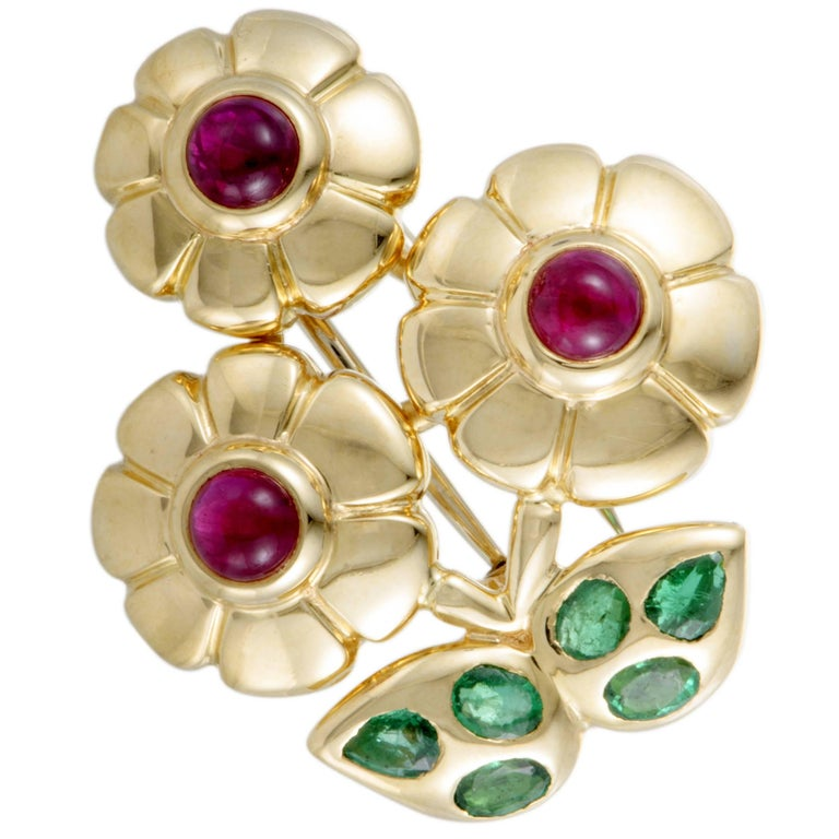 1960s Cartier Emerald Ruby Gold Flower Brooch