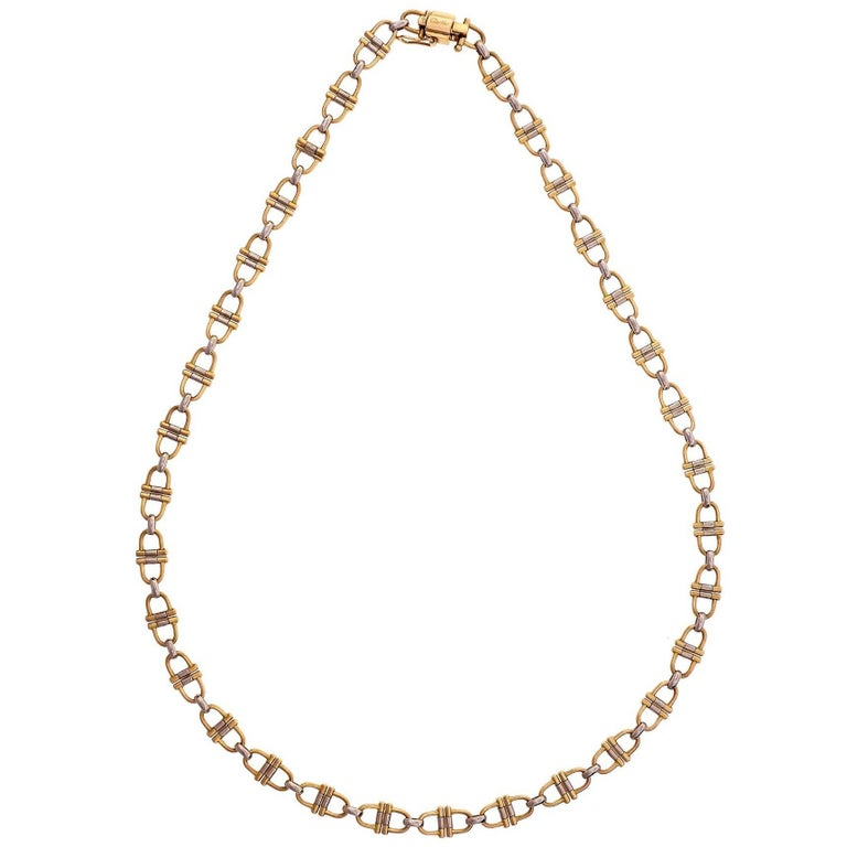 Cartier Vintage Equestrian Theme Gold Chain Necklace At