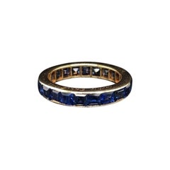 Cartier Vintage French Cut Sapphire Full Eternity Ring 18 Karat Yellow Gold