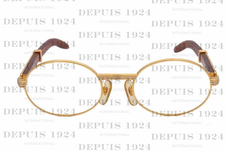 Beige Cartier Vintage Giverny Palisander Sunglasses