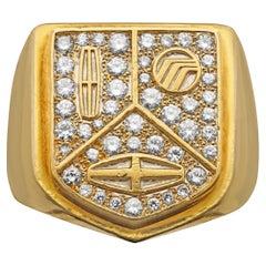 Cartier, Vintage Gold & Diamond Lincoln Motor Signet Ring, circa 1985