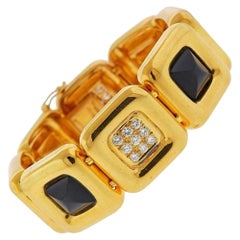 Cartier Vintage Gold Diamond Onyx Bracelet