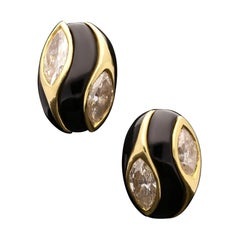 Cartier, Vintage Gold, Onyx and Marquise Diamond Earrings, circa 1970s