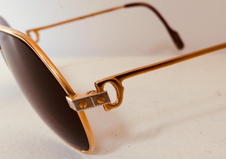 Late 20th Century Cartier Vintage Large Vendome Santos Sunglasses with Box, 1980