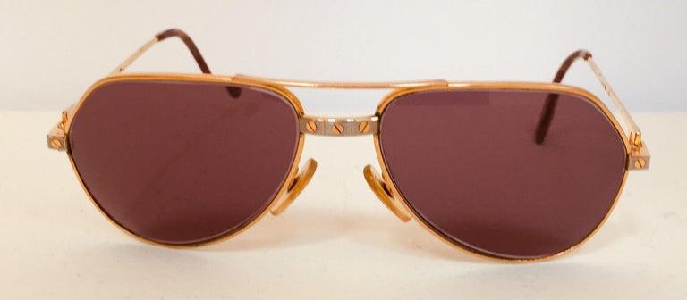 Gold Cartier Vintage Large Vendome Santos Sunglasses with Box, 1980