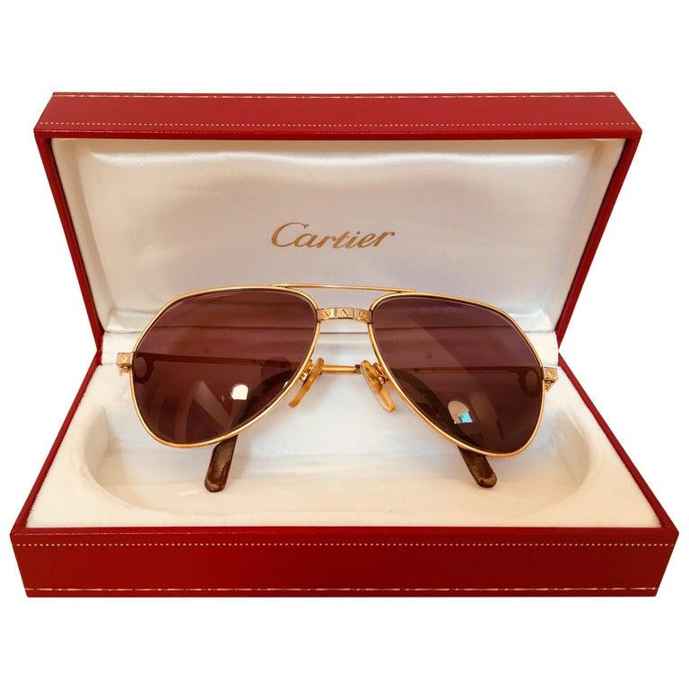 Cartier Vintage Large Vendome Santos Sunglasses with Box, 1980