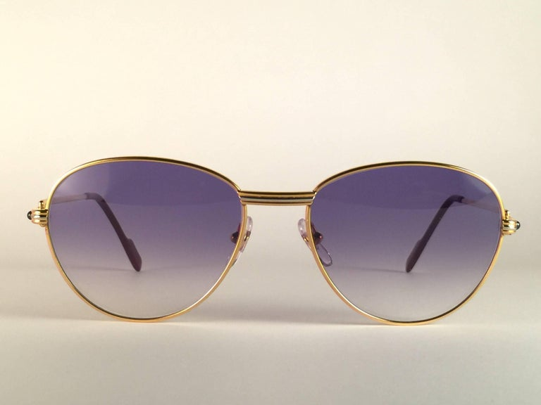 Cartier Vintage Louis Sapphire 55mm Heavy Gold Plated Sunglasses, France In New Condition For Sale In Amsterdam, Noord Holland