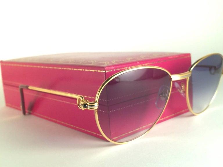 Women's or Men's Cartier Vintage Louis Sapphire 55mm Heavy Gold Plated Sunglasses, France For Sale