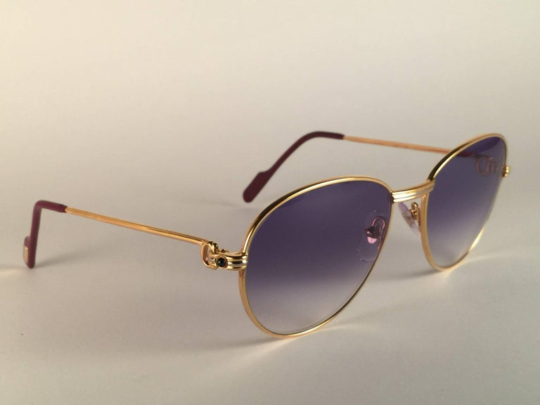 Cartier Vintage Louis Sapphire 55mm Heavy Gold Plated Sunglasses, France For Sale 1