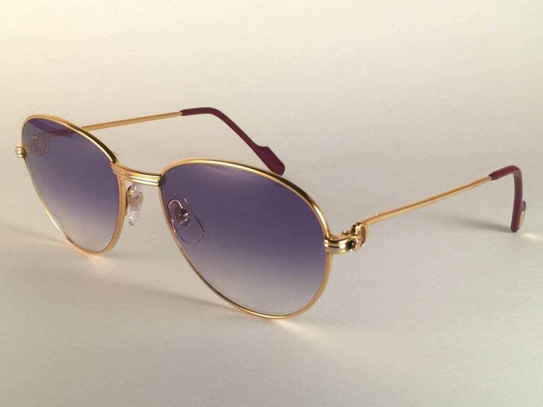 Cartier Vintage Louis Sapphire 55mm Heavy Gold Plated Sunglasses, France For Sale 2