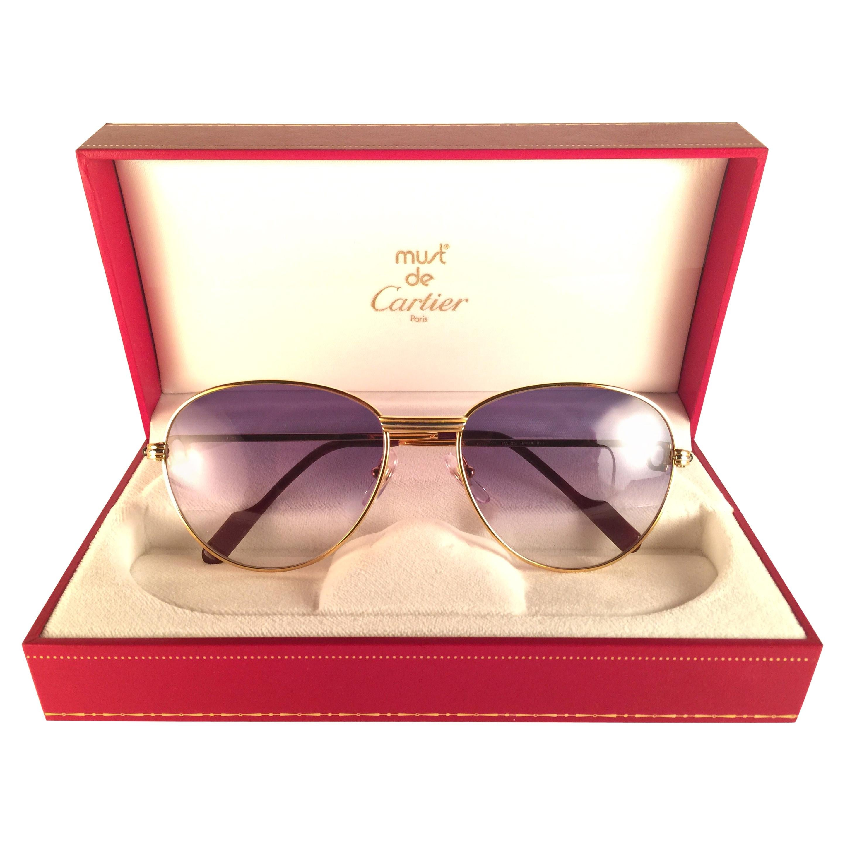 Cartier Vintage Louis Sapphire 55mm Heavy Gold Plated Sunglasses, France
