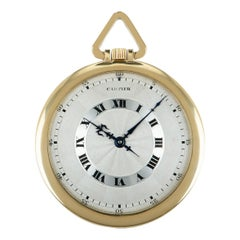 Cartier Vintage Open Face Pocket Watch Yellow Gold