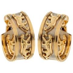 Cartier Vintage Panthere Gold Hoop Earrings