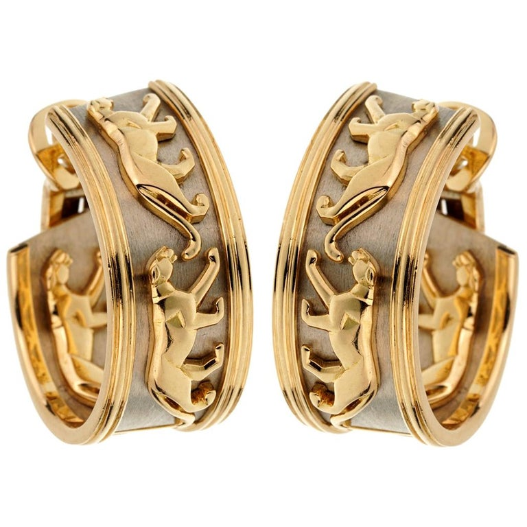 Cartier Vintage Panthere Gold Hoop Earrings For Sale